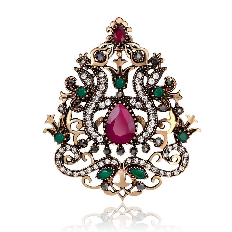 de7ba8862aba2 Big Flower Women Gothic Brooches Crown Design Vintage Brooch Pins Collar  Resin Gold Color Turkish Indian Jewelry 6.3cm