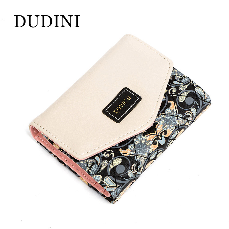 DUDINI New Arrived Flowers Printing Women Wallet Fashion Hit Color Clutch Purse Ladies Coin And Money Card Holder Wallets Bag 2pcs lot new fashion animal 3d cat dog printing coin purse 100% polyester zipper wallet brand women bag monederos wallet