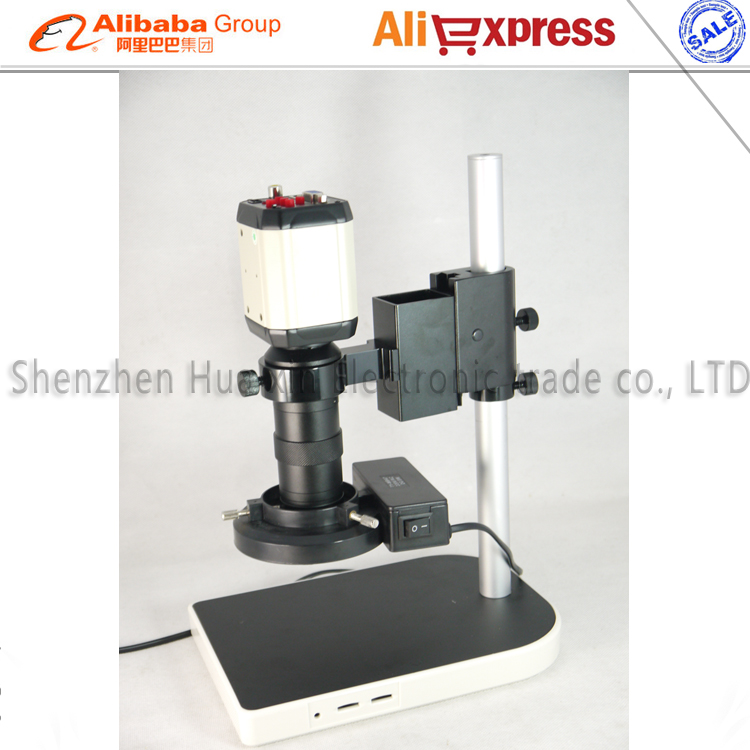 3 in1 Digital Industrial Microscope Camera VGA USB CVBS TV outputs+56 LED ring Light+stand holder+130X C mount lens 2 0mp digital industrial microscope camera vga output 8x 130x optical c mount lens adjustable led lights stand