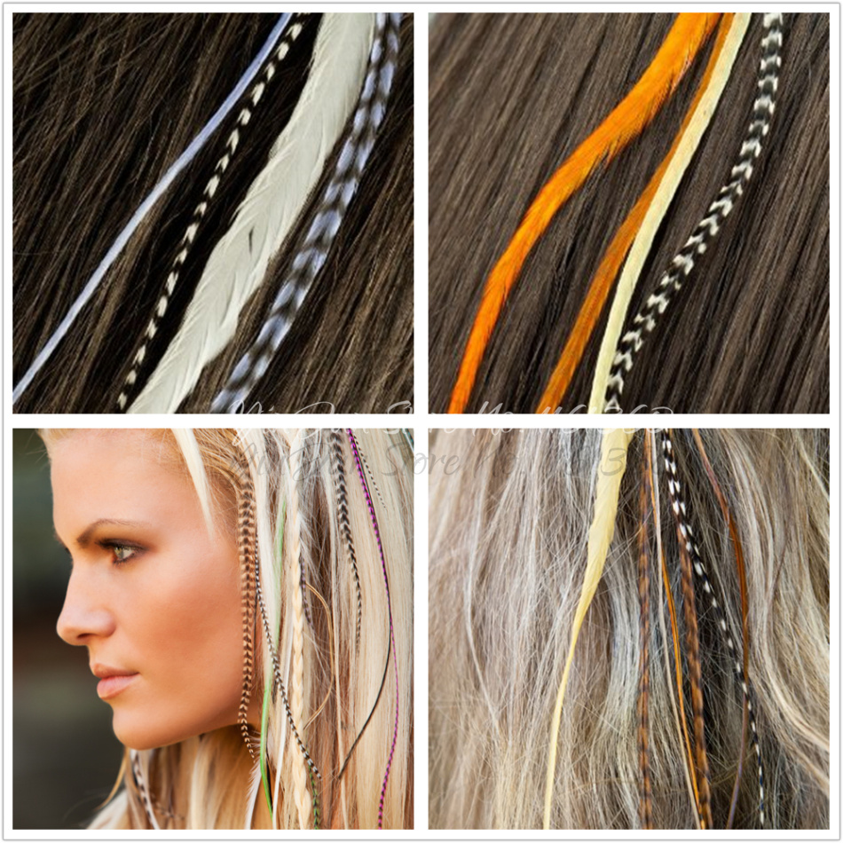 24pcs 6 12 Whiting Grizzly Rooster Feather Hair Feather Extensions