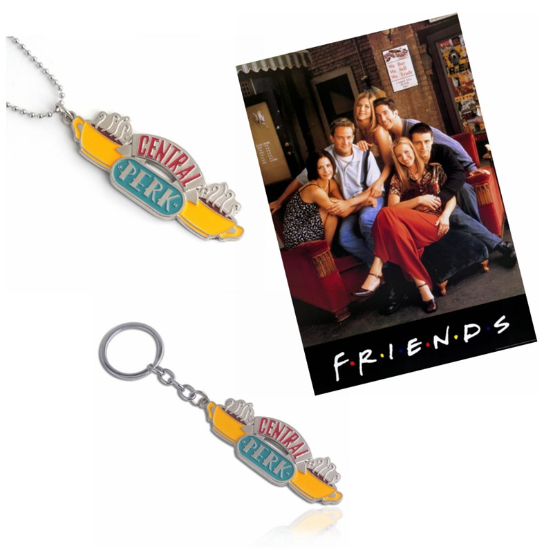 Friends TV Show Jewelry Central Perk Coffee Time KeyRing KeyChain Pendant Necklace For good friend's gift llaveros Choker T57 image