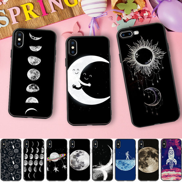 new product 9370c 99b6a US $1.99 35% OFF|Tumblr Cases For iPhone X Case Space Love Sun And Moon  Soft Silicone Phone Case For iPhone 6 6S 7 8 Plus 5 5S SE Coque-in Fitted  ...