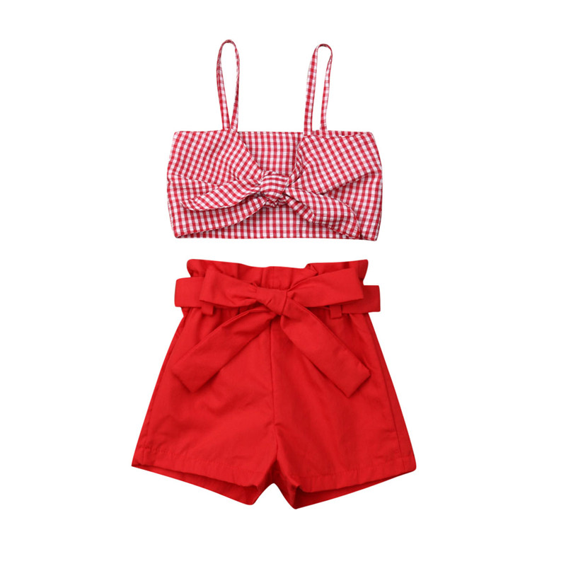 Newborn Kids Baby Girls Summer Bowknot Crop Tops Pants Shorts Outfit Set Clothes