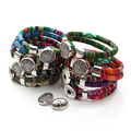 Bohemian Multicolor Cotton Cords Bracelets Tibetan Silver Plated Ethnic Wrap Flower Snap Button Bracelet Jewelry Pulseras Mujer