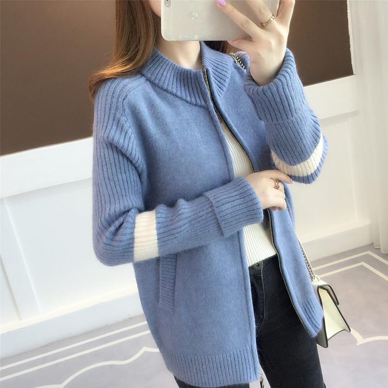 Knitted cardigan 2018 autumn winter women's new color matching net red zipper, Korean casual wear sweater jacket