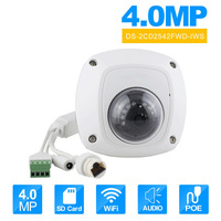 HIKvision DS 2CD2542FWD IWS Wilress IP Camera English Version Audio 4MP WDR Mini Dome Network Camera