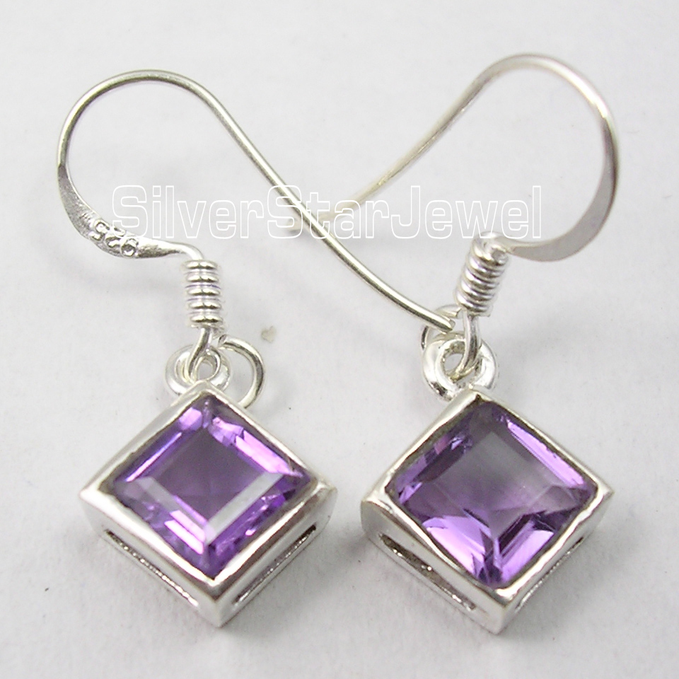Chanti International Silver PURPLE Amethysts DESIGNER Dangle Earrings 2.7 CM 2.2 Grams