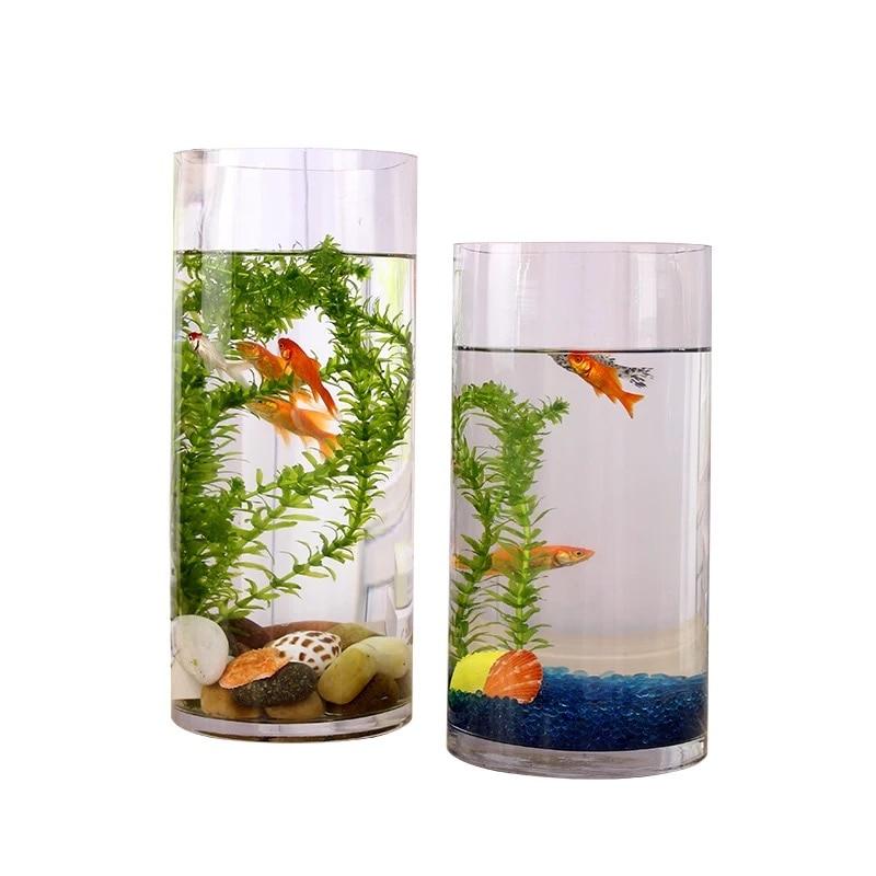 1pc аквариум резервоар цветя ваза OD90x2x200mm акрил мини риба чаши вода тръба домашен офис декор бюрото воден цилиндричен домашен любимец