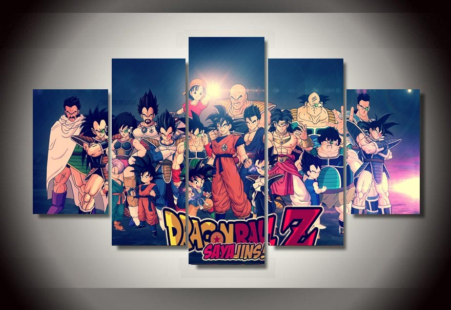 5 Piece Animated Cartoon Game Dragon Ball Z Painting Canvas Wall Art Picture Home Decor Living Room Canvas Print Modern Painting