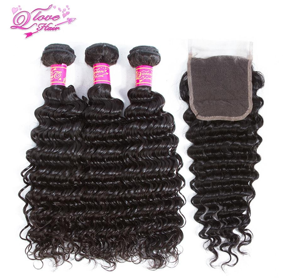 Queen Love Hair Human Hair Deep Wave 3 Bundles With Lace Closure 4 Pc Lot Brazilian