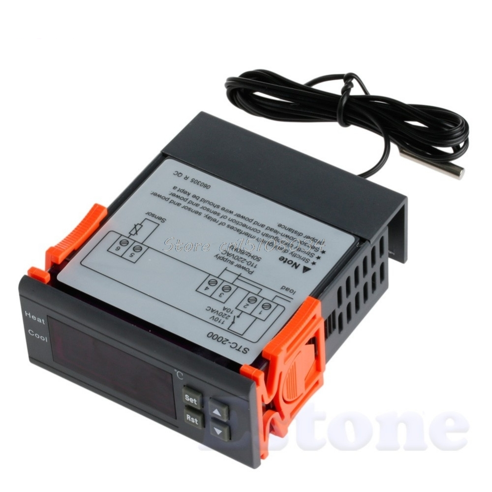 STC-2000 220V Digital Temperature Controller Thermocouple -55~120 with Sensor S08 Drop ship