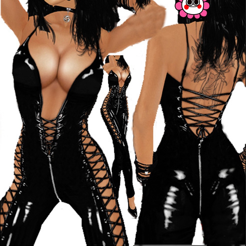 Buy Abbille PVC Faux Leather Teddy Open Bust Crotchless Erotic 2017 Catsuit Fetish Wear PVC Sexy Bodysuits Pole Dance Porn Jumpsuit