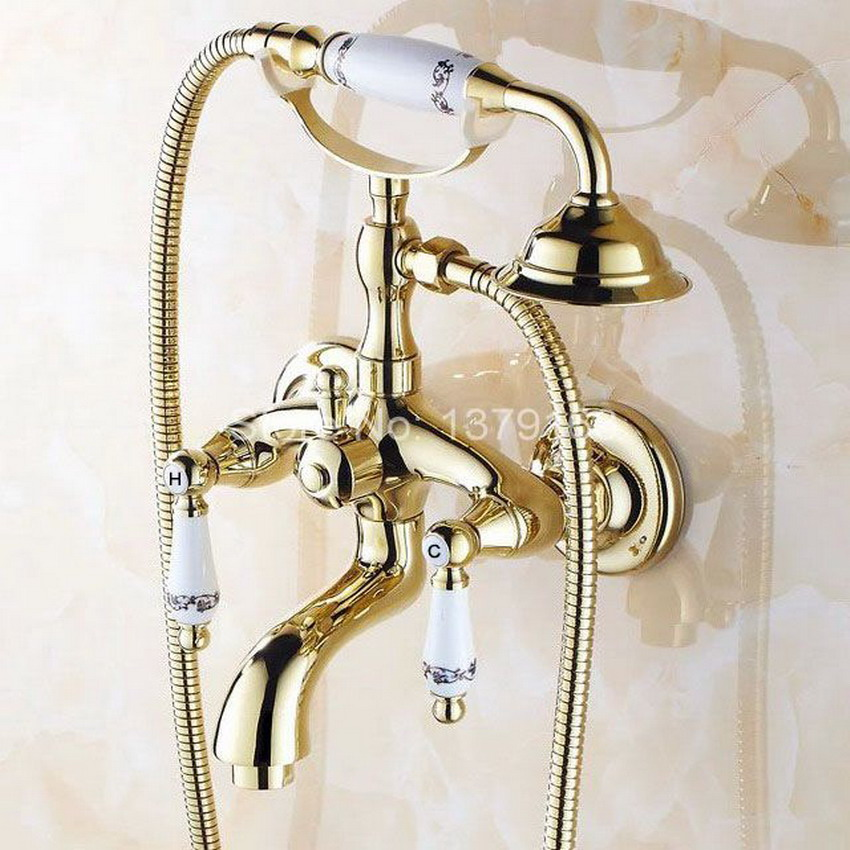 Gold Polished Brass Two Levers Wall Mounted Clawfoot Bath Tub Faucet Mixer Tap Telephone Style Hand Held Shower Head atf079 chrome polished rainfall solid brass shower bath thermostatic shower faucet set mixer tap with double hand sprayer wall mounted