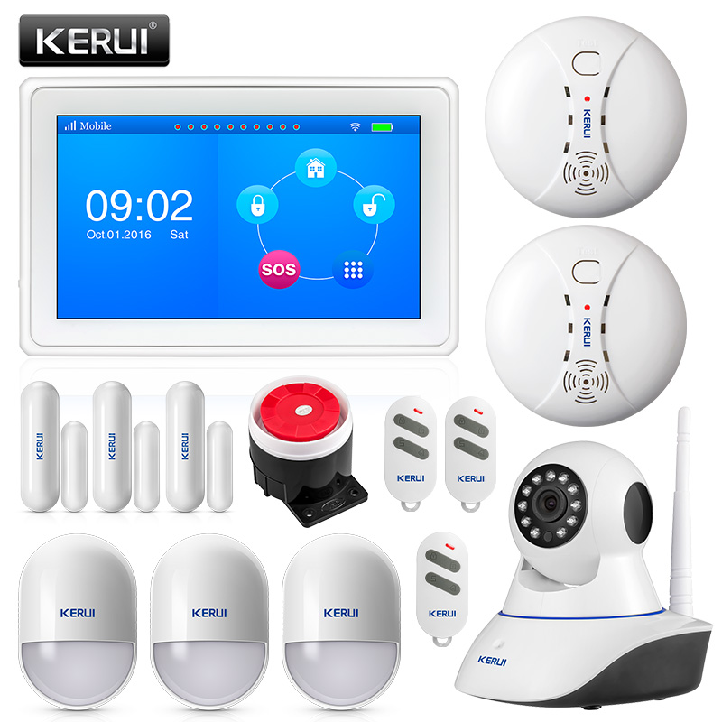 KERUI K7 WIFI GSM Security Alarm Burglar System 7 Inch TFT Color Display with Door Magnet Motion Smoke Detector and IP cameraKERUI K7 WIFI GSM Security Alarm Burglar System 7 Inch TFT Color Display with Door Magnet Motion Smoke Detector and IP camera