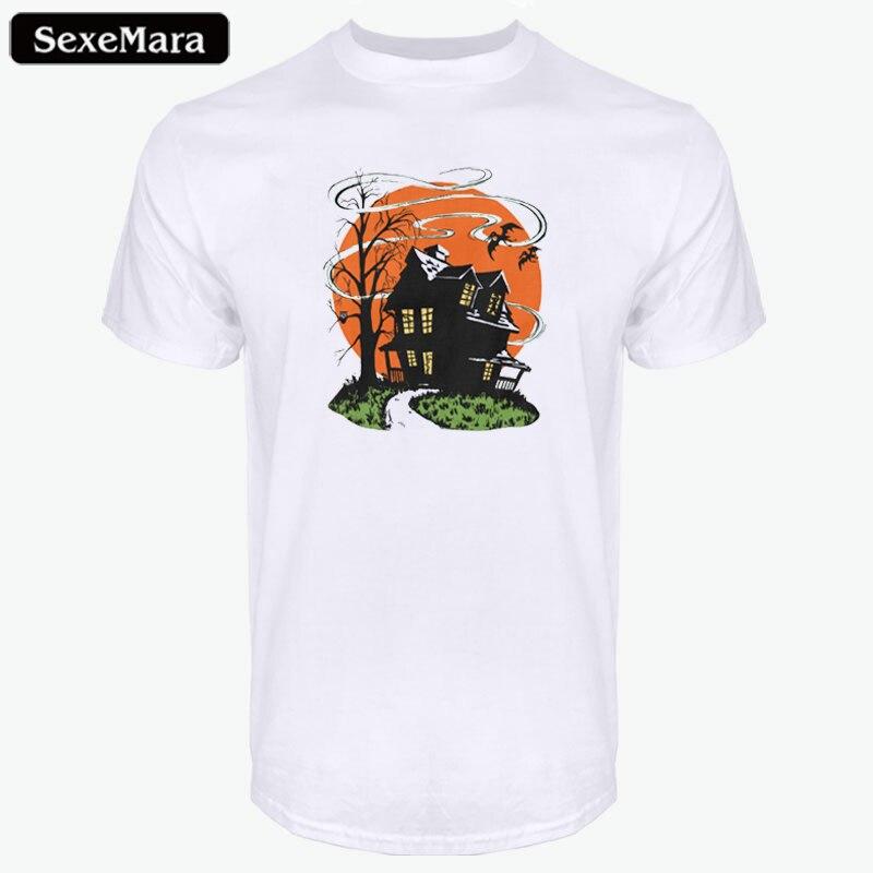 13b04b99 Pictures of SexeMara Vintage Halloween Haunted House Mens T-Shirts  Halloween Design Funny Anime T-Shirts Mens Short Sleeve Top Tee Camiseta