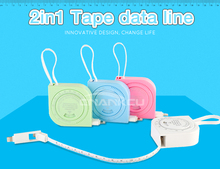 Multi Function 2in1 Calibration Tape Data Line For iPhone Data Line Two-in-one Android Data Line Fashion Long Fast Charging Line
