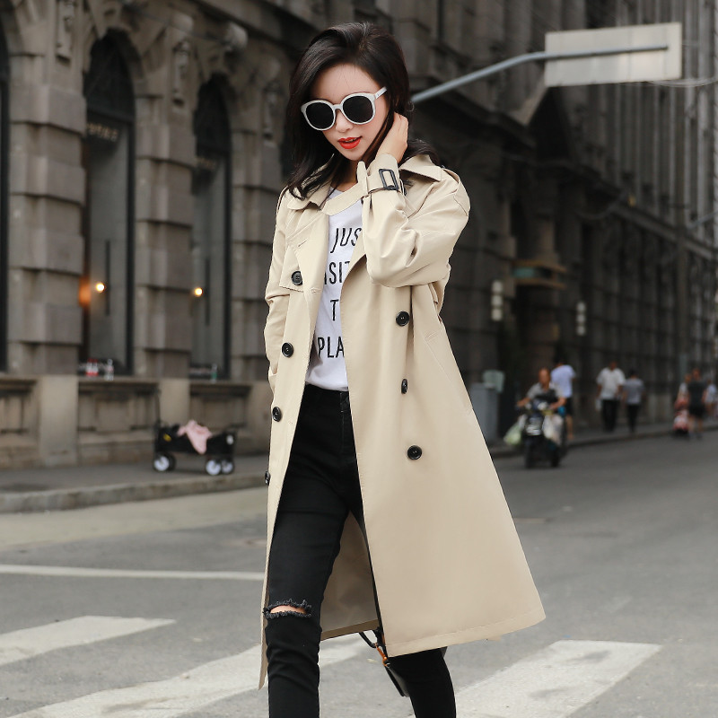 High quality 2020 Spring Autumn Long   Trench   Coat Women Solid color Long-sleeved Double-breasted Female Windbreaker Outwear X866