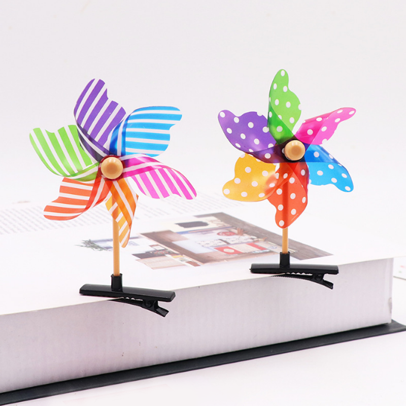Toys Decorative Flower Windmill Headdress Mini For Children Small Kids Gifts 2pcs Hairpin