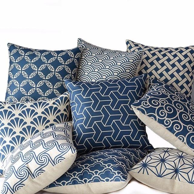 Di alta Qualità In Cotone E Lino Profondo Blu Geometria Caso Cuscino di Tiro Sed