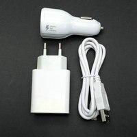 Adaptador de Parede de Viagem DA UE 2.4A saída 2 USB + Micro Cabo USB + carregador de carro Para ZTE S291 Grande S2 S 2 II S251 S252 S221