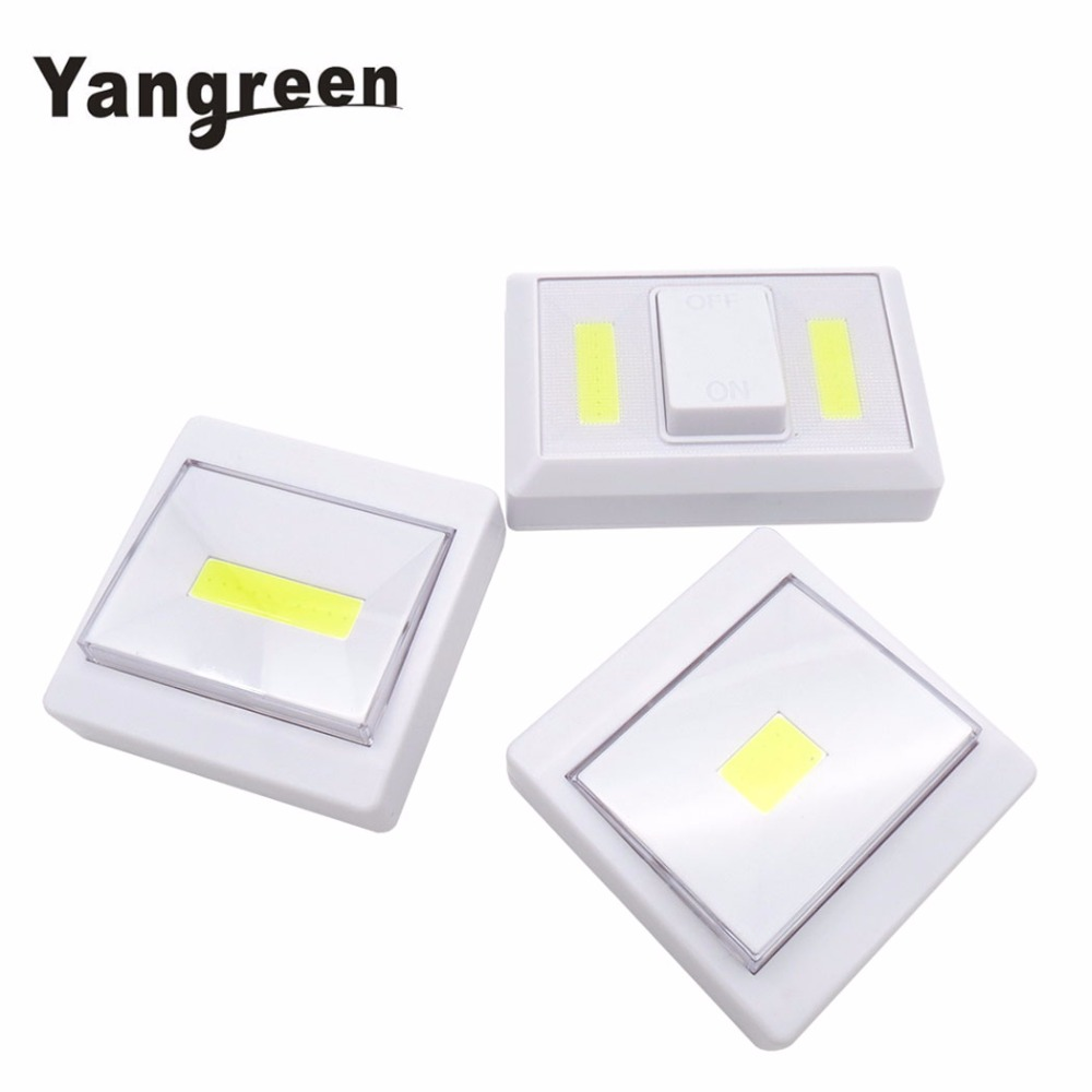 Whosale 12PCS COB LED Switch Light Battery Luminaire Portable Wireless Cordless Lamp Battery Operated Cordless Light cob led wall lamp rotary switch night light adjustable wireless closet cordless lamp battery operated wardrobe light