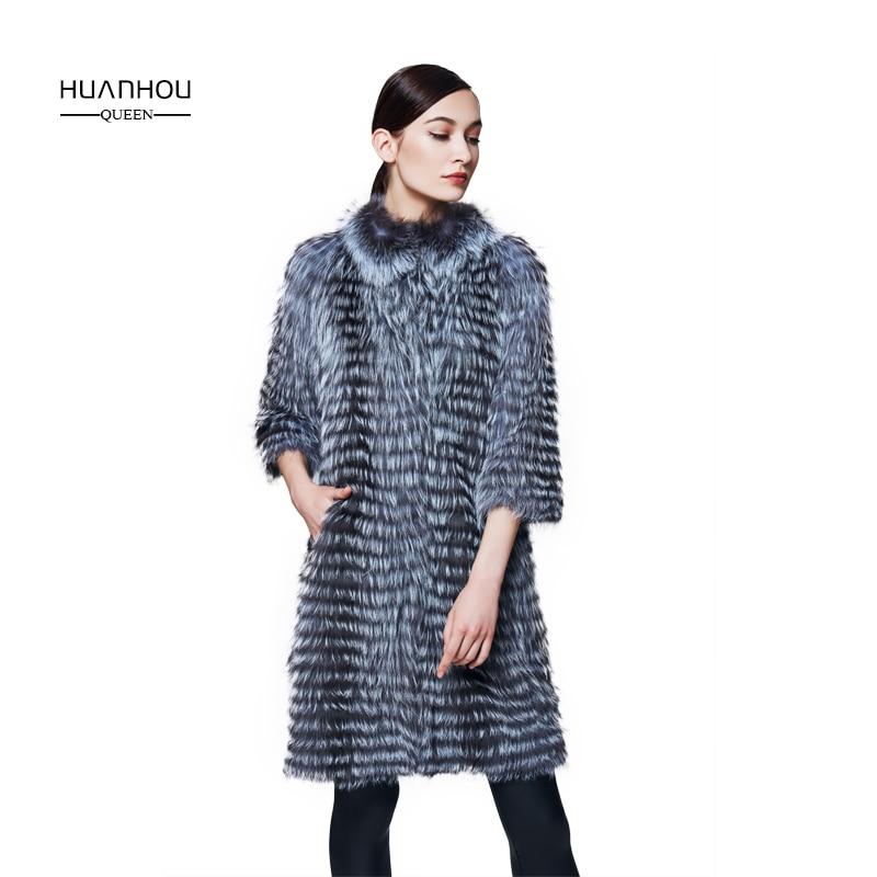 Huanhou Королева новая мода тонкий Настоящее silver fox пальто с мехом для женщин, длинная стильная повседневная половина меховое пальто без рукаво...