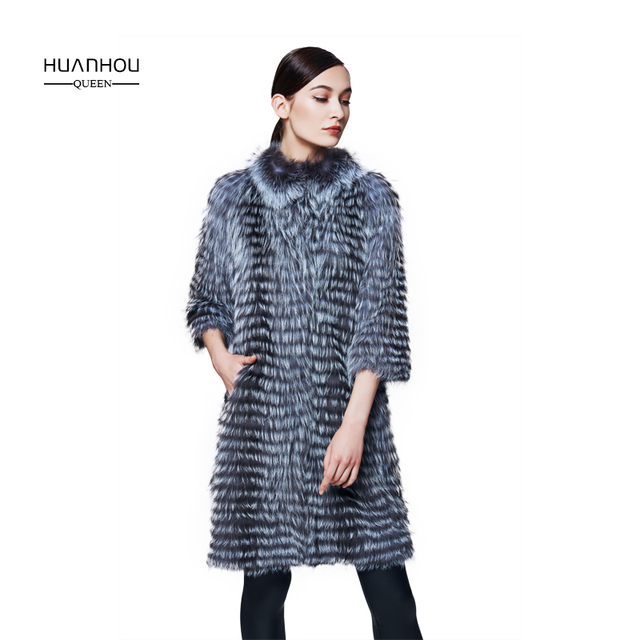 Huanhou queen new fashion slim real silver fox fur coat for women's,long style casual half sleeves fur coat.
