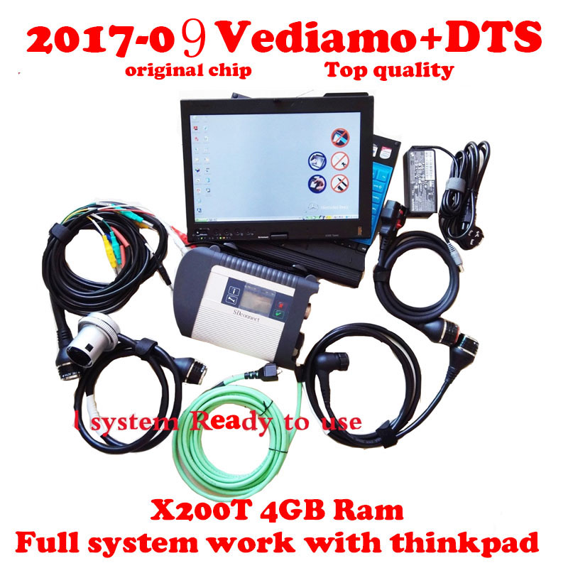 Full chip MB Star C4 SD Connect V2018.03 wifi Mb Star Diagnosis Vediamo& DTS Full System mb star Multiplexer with Thinkpad X200T
