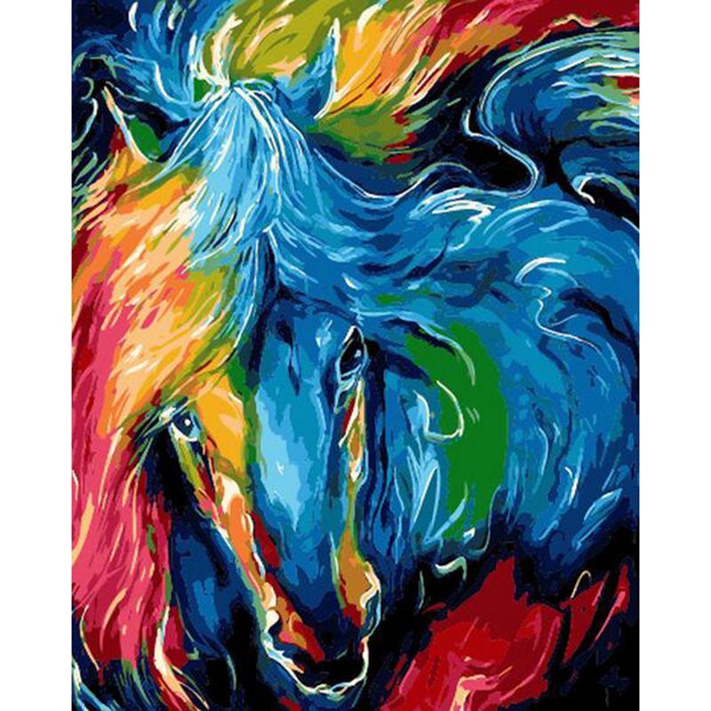 Unique Gift Draw Painting By Numbers colorful horse face DIY Oil ...