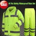 [В продаже] Hi vis спецодежды работы куртка флуоресцентный желтый водонепроницаемый пальто дождя наборы куртку от дождя дождь брюки брюки в запасе