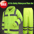 [On  sale ] Hi vis workwear work jacket  fluorescent yellow waterproof coat rain sets rain jacket rain pant trousers in stock