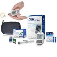 Facile Uso Medico Diabetica Famiglia Monitor 50 pz Strisce + 50 Aghi Lancette Rilevamento di Zucchero Nel Sangue di Glucosio Nel Sangue Metri Glucomete