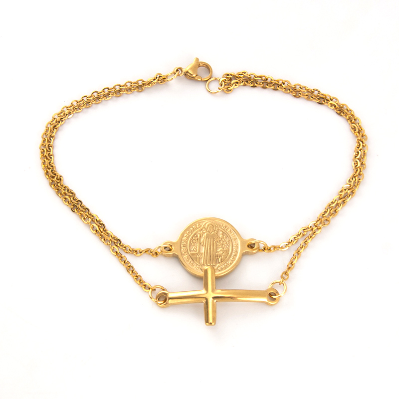 Adaptable Risul Double Layers Saint Benedict And Cross Charm Golden Bracelet Women Jewelry Rolo Chain Stainless Steel Female Bracelets