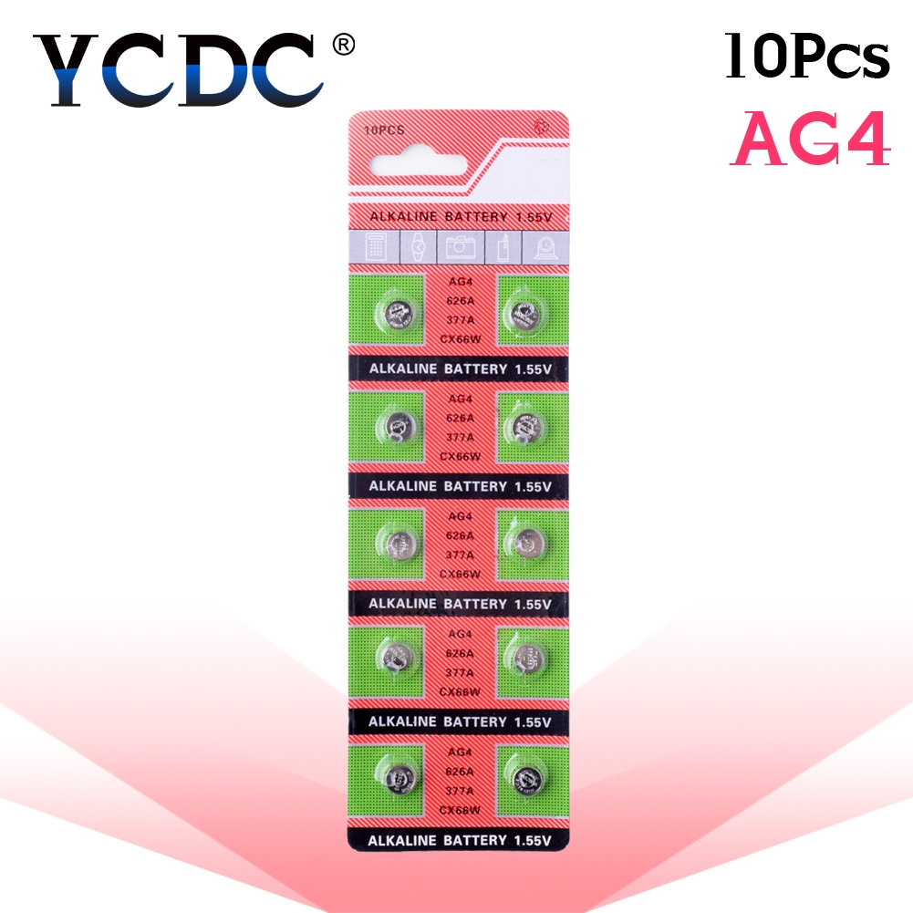 10pcs/card AG4 For Watch Toys Remote SR626 177 Cell Coin Alkaline Battery 1.55V 626A 377A CX66W LR626 377 Button Batteries accell replacement 1 5v 26mah ag4 lr626 377 sr626 177 button batteries 10 pcs
