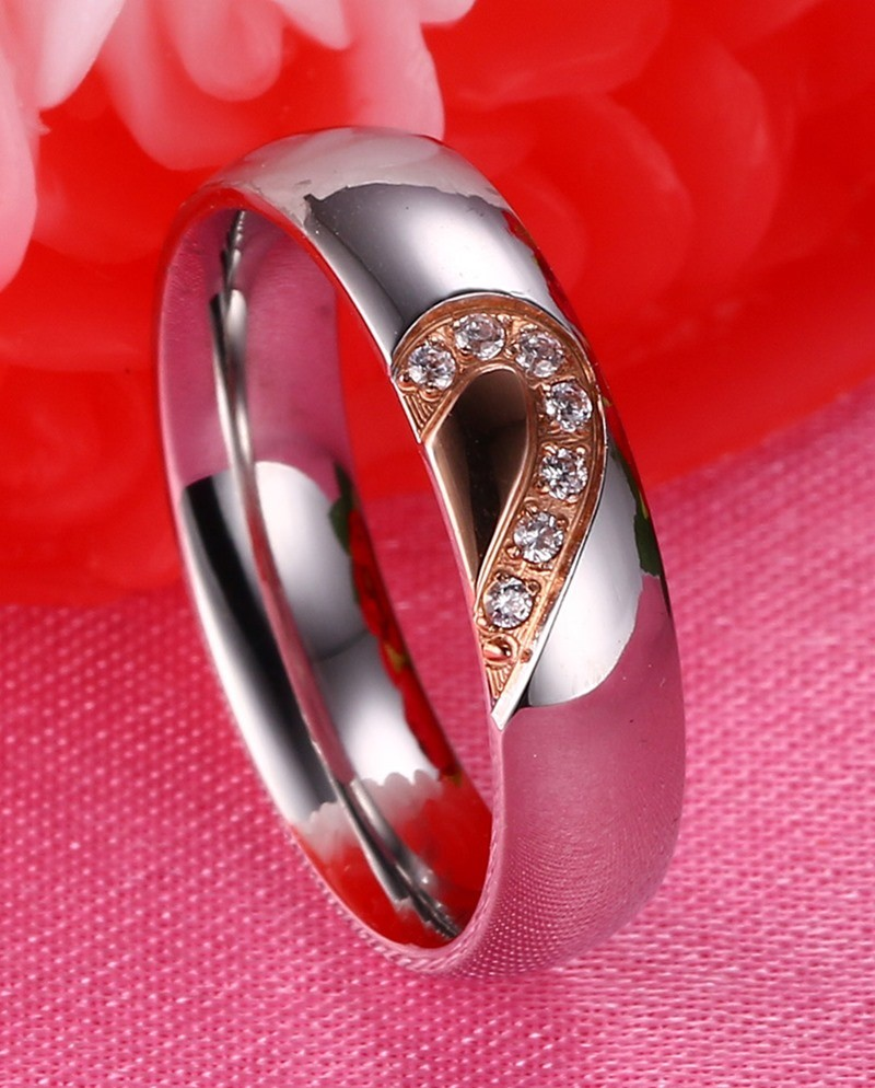 Vnox Love Heart Ring Anniversary Engagement Wedding Titanium Steel ...