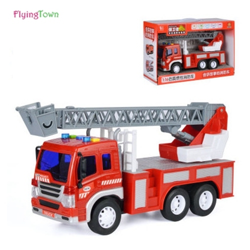 1:16 Fire truck toy car inertia car engineering car fire truck music Large child boy toy car model freeshipping