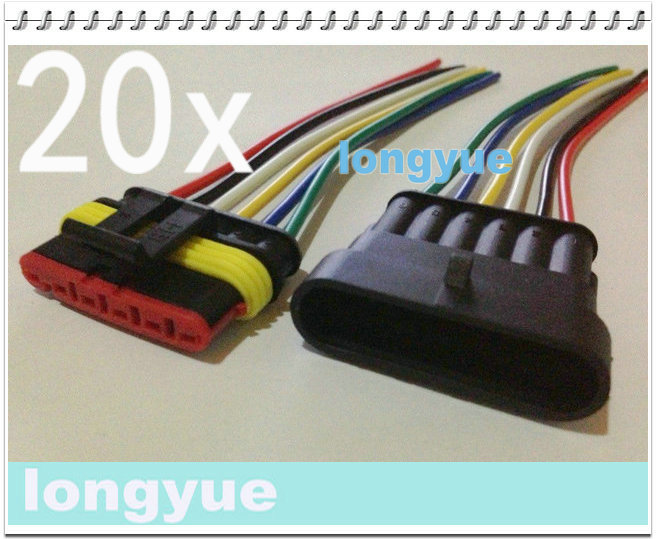 longyue 20sets New 6 Pin Waterproof Electrical Wire ... on trailer wiring harness plugs, control box connector plugs, waterproof 12 volt quick disconnect plugs, wiring a plug, 4 pin wire connector plugs, waterproof connector plugs, generator connector plugs,