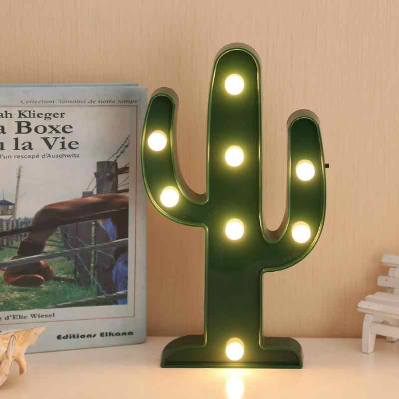 Table Lamp Cactus Decor 3D LED Night Light Romantic Cactus Light Christmas Home Bedroom Decoration White Warm White