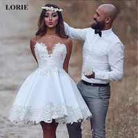 LORIE Super Mini Wedding Dress 2019 A Line Stain Lace Appliques Summer Cute Sleeveless wedding gown White ivory Party Dresses