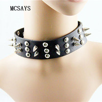 MCSAYS Rocker Punk Jewelry Stainless Steel Rivet Pendant 41cm Leather Chokers Necklace Gothic Hipster Fashion Accessories 4HD