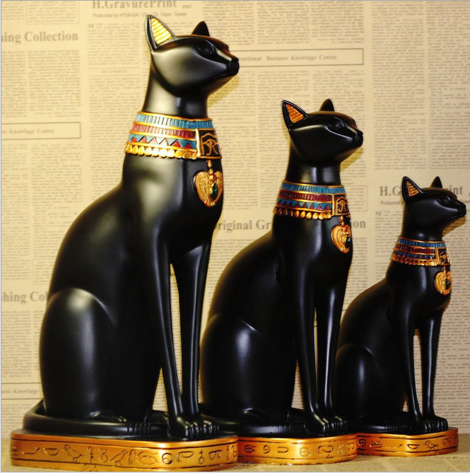 3 options, Egypt Style Moon Goddess Incarnation Cat God Figurine Resin Decor Collectible Cat Figurine ...