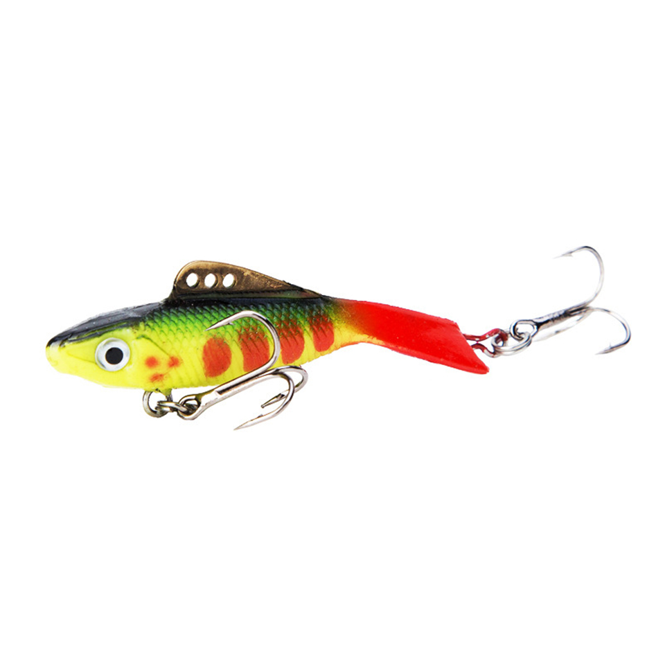 1PCS 5.7cm 12g Vantage Balance Vib Ice Fishing Lure Wobber Pesca Artificial Bait Lead Fish Soft Fish Red Tail Treble Hook 1pcs big popper bait hard fishing lure 12cm 42g vmc treble hook artificial bait surface water peche pesca wobber leurre
