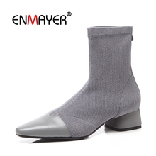 ENMAYER Woman Ankle boots Short Winter Shoes Pointed toe Black Size 34-40 Causal Bowtie Flock Med heels Thin CR1907