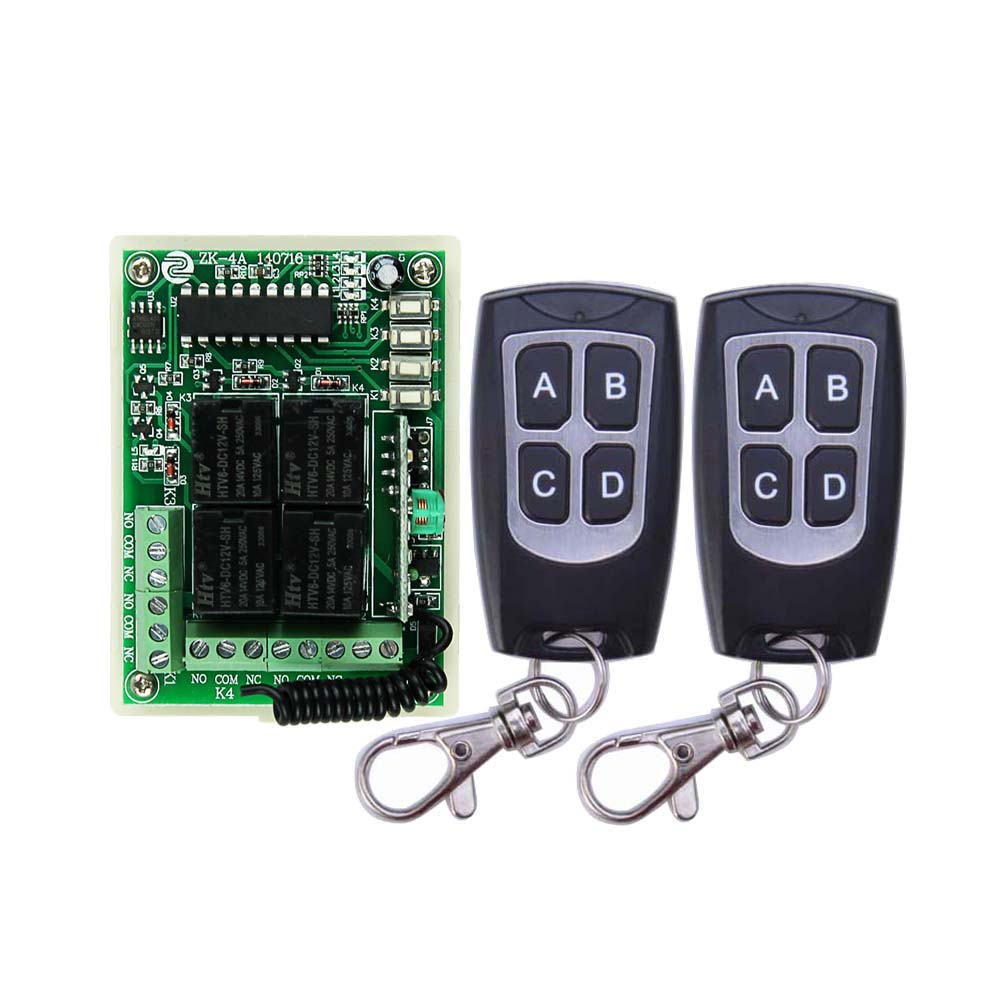 DC 12V 4CH 1CH Independent Relay Wireless Remote Light Switch 2CH Momentary + 2CH Toggle Switch 315MHZ / 433MHZ dc12v 2ch 3transmitter 1receiver remote control light on off switch 315 433mhz momentary toggle latched 2 relay indicator