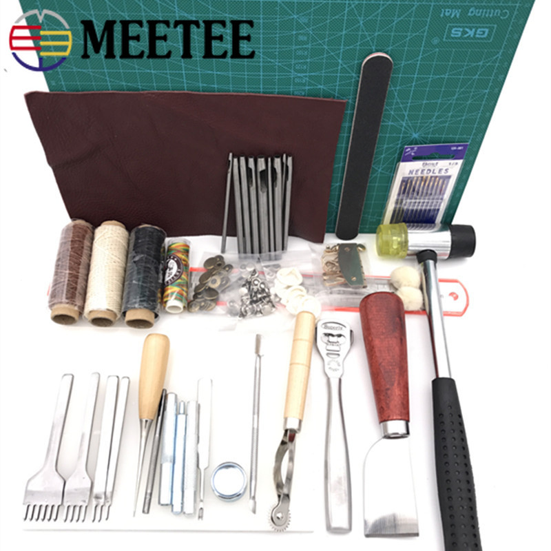 Meetee bricolage outils en cuir fait à la main en cuir outil ensemble cousu à la main diamant artisanat ensemble 01 entrée de gamme main couture ensemble BD124
