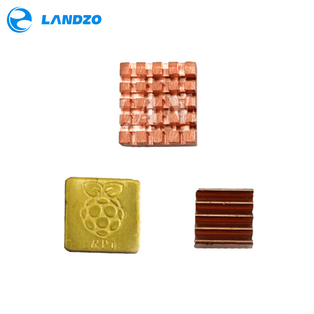 LANDZO Electronic Technology Co.,Ltd LANDZO 3pcs of Pure Copper Heatsinks 3 Pieces of Heat Sink Cooling Kit for Raspberry Pi 3 Model B Ras PI3 PI 3B PI 2 PI 3