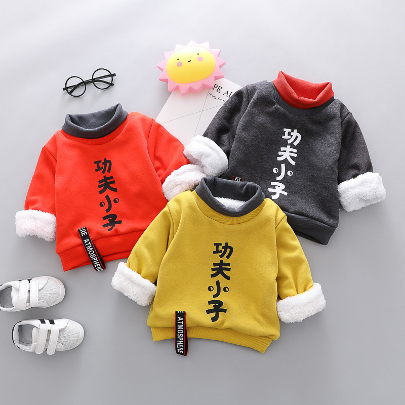 Kids Tops Thicken Baby-Girl Infant Winter Children Warm Plush Sweater Costume Chinese-Characters