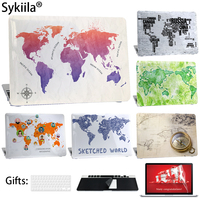 Sykiila For Macbook Air 13 Case Art Word Map Printed Cover Air 11 Pro 12 13