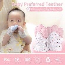 Newborn Baby Gloves Silicone Mitt Teething Mitten Glove Candy Wrapper Sound Teether