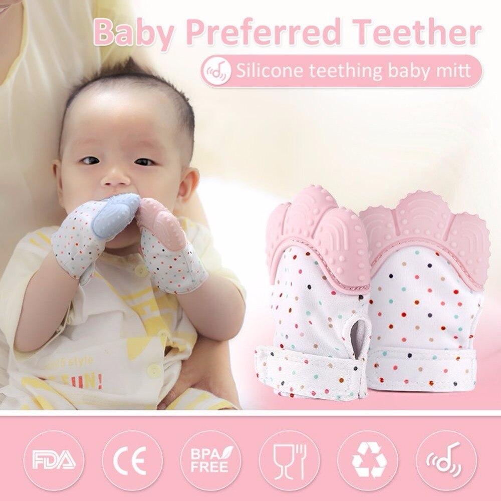 De Goedkoopste Prijs Pasgeboren Baby Handschoenen Silicone Baby Mitt Tandjes Mitten Tandjes Handschoen Candy Wrapper Geluid Bijtring